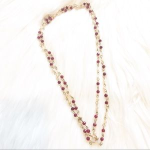 Red and Gold Delicate Layering Necklace NWOT